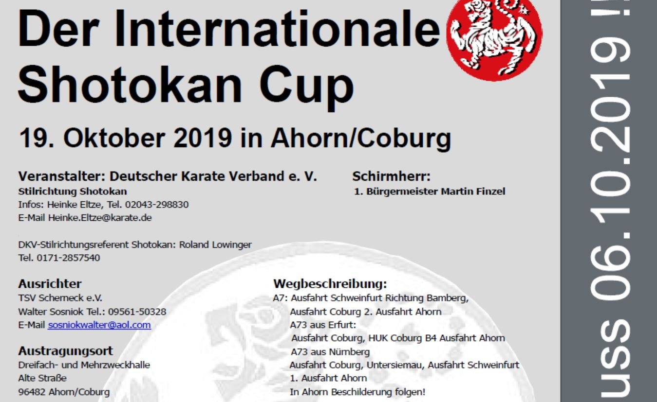Internationaler Shotokancup im Oktober 2019 in Ahorn